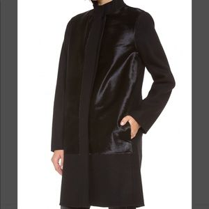 Vince Calf Hair Inset Wool Coat. Small